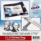 Hamilton & Adams 1776 American Flag, Tangle Free Flag Pole, and Bracket Kit (Silver Flag Pole, Bracket, and American Flag (Printed))