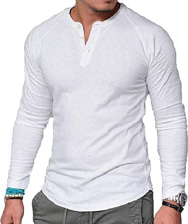 Camisa Manga Larga para Hombre Casual Cuello V T-Shirt Ropa Color Sólido Básico Top Personalidad Camisa M - 4XL: Amazon.es: Ropa y accesorios