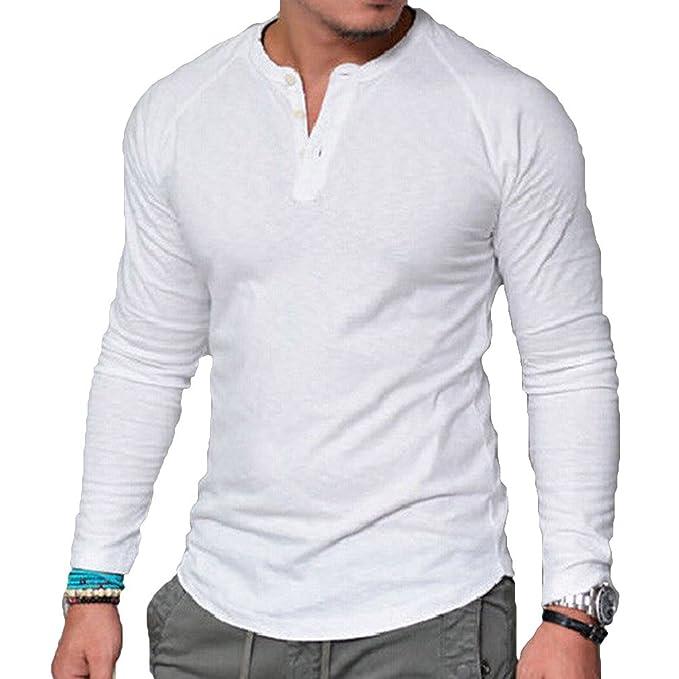 Camisa Manga Larga para Hombre Casual Hombre Camiseta Ropa Retro Moda Cuello Redondo Camisa Cuello Playa Yoga Top Personalidad Camisa Tamaño Grande: ...