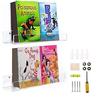 WINKINE 2 Pack Heavy Duty Clear Floating Bookshelf Set, Acrylic Bathroom Shelves, Shower Caddy, Nail Polish Women Makeup Organizer, Spice Rack Kids Room Wall Decor Display Shelf