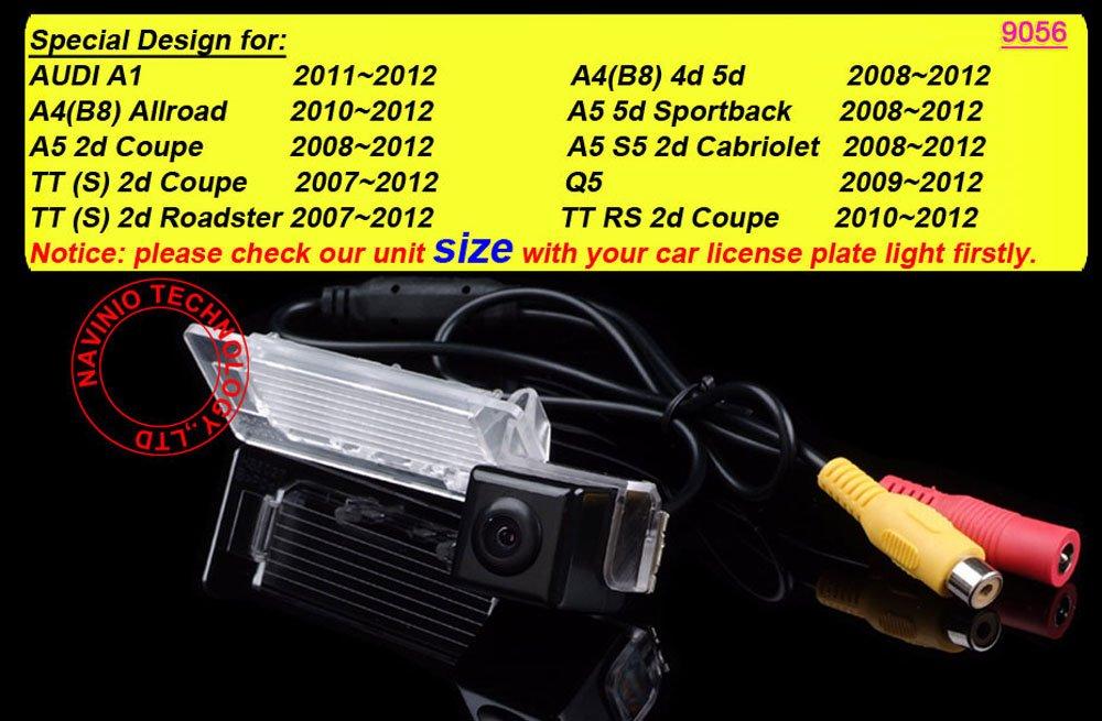 Retrocamera di parcheggio per A1 A4 Allroad Coupe TT Coupe Roadster Q5 RS S5 A5 Cabriolet Greatek Colore telecamera di retrovisione con linee di griglia come luce targa