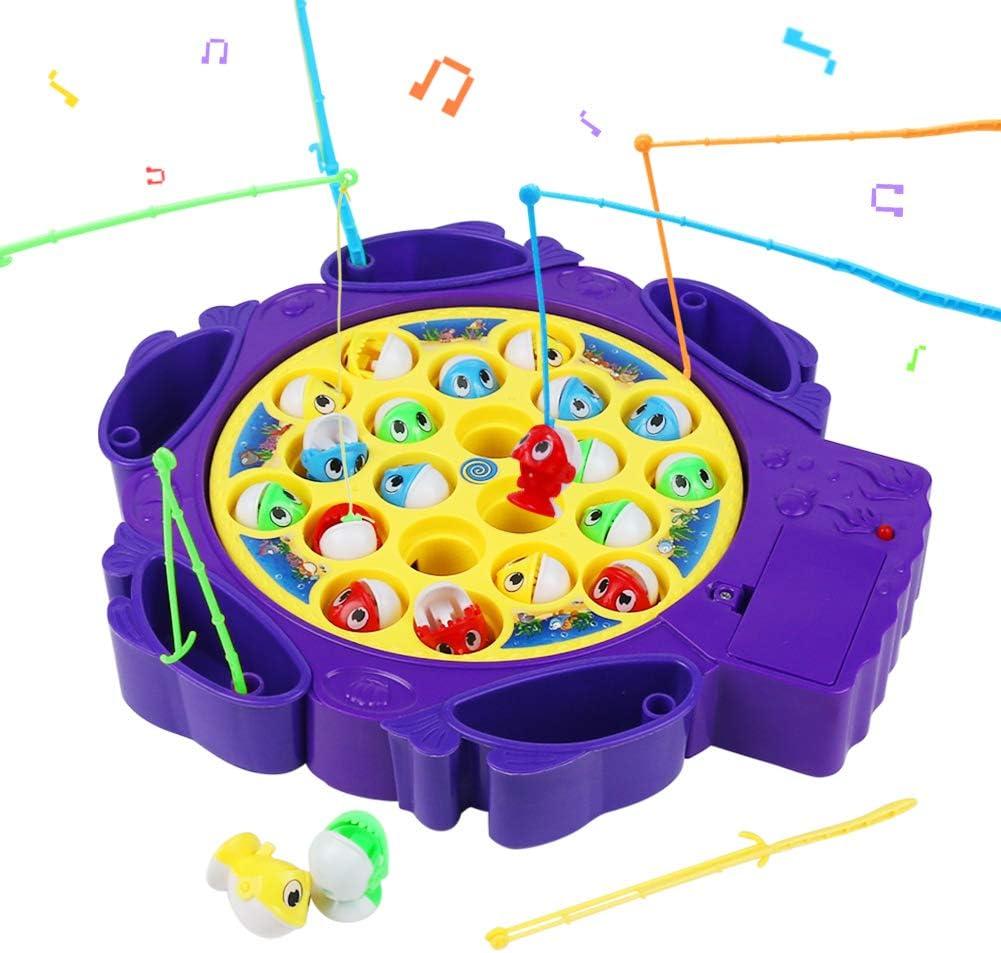 Symiu Juego Pescar Peces de Plastico Juego de Mesa Musical Juegos Educativoscon 6 Cañas de Pescar y 21 Mini Pescado para Niños 3 4 5 (2 Colores, Entrega aleatoria)