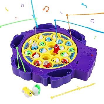 Symiu Juego Pescar Peces de Plastico Juego de Mesa Musical Juegos Educativos con 6 Cañas de Pescar y 21 Mini Pescado para Niños 3 4 5 (2 Colores, ...