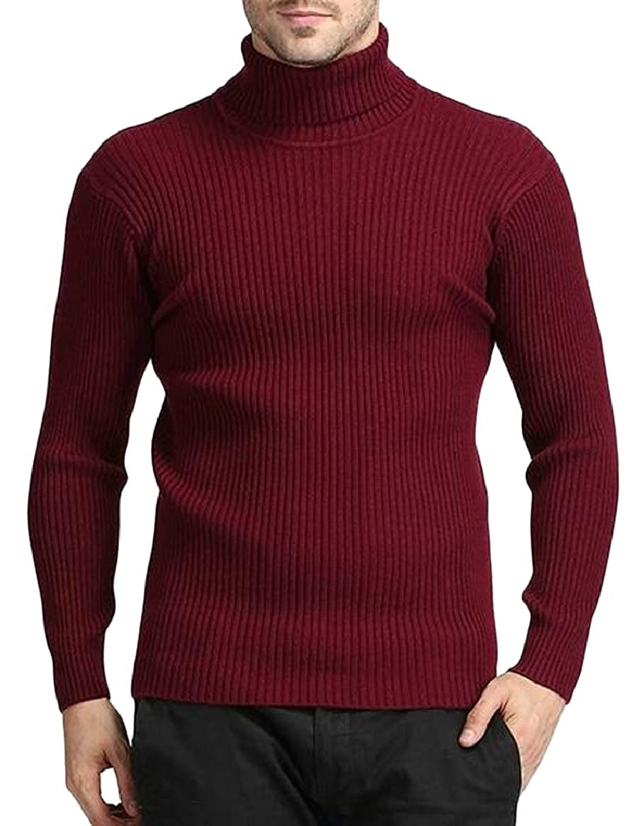 Ptyhk RG Mens Basic Ribbed Knitted Pullover Turtleneck Sweater