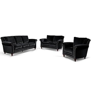 Moebella Designer Barock Couch Garnitur 3 2 1 Kings Mit Nieten Samt