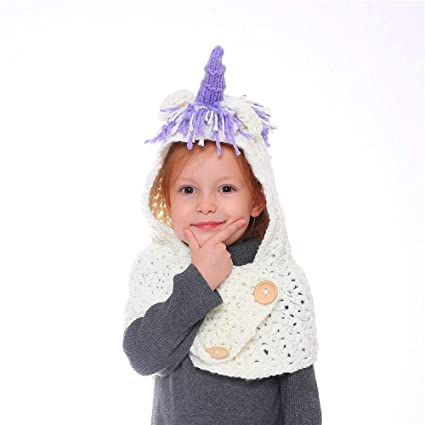 Yishelle Kids Cartoon Unicorn Hat and Stoles Knitting Pattern for Girls  Winter Warm Hooded Stoles for 4-8Y (Color   Purple)  Amazon.co.uk  Kitchen    Home cbc4ce18b42