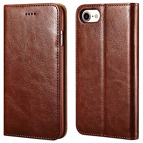 iPhone 7/8 Wallet Case, ICARERCASE Premium PU Leather Folio Flip Cover with Kickstand and Credit Slots for Apple iPhone 7/8 4.7 Inch (Brown)