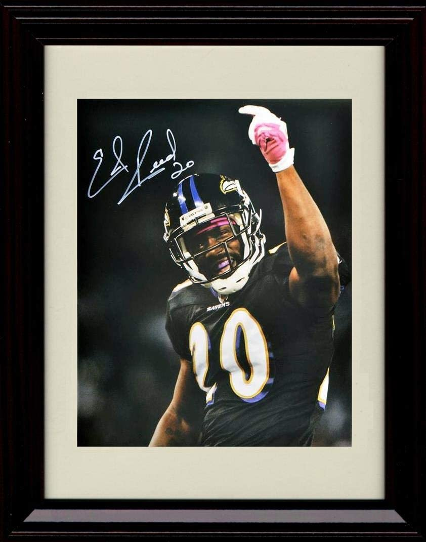 Framed Ed Reed Autograph Replica Print - Hand Raised Black Jersey