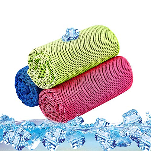 Cooling Towel Pack of 3 Sports Towels SKL Stay Cool Towel for Sports, Swimming, Women, Yoga, Workout, Athletes, Gym, Neck, Golf, Travel 40 inch x 12 inch - 3PCS Red Blue Green