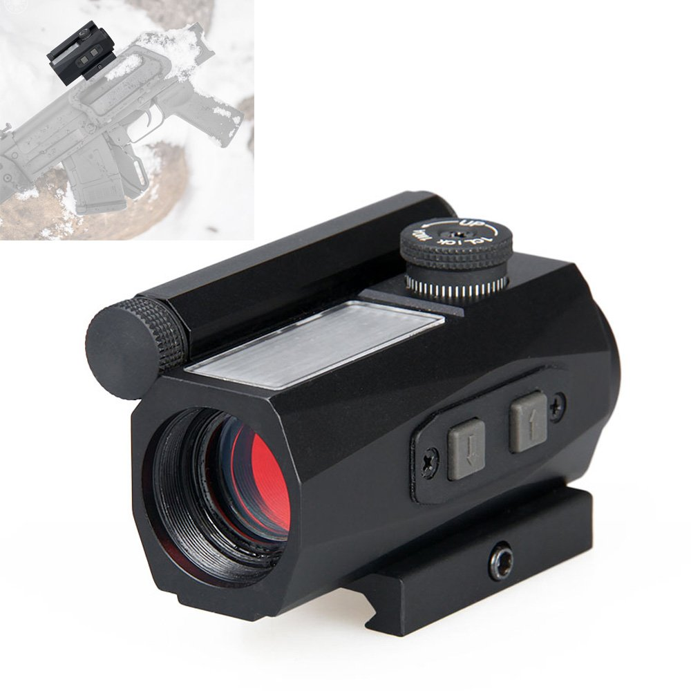 Red Dot Sight with Solar Battery 2 MOA 1x20mm Compact CANIS LATRANS Rifle scope for Hunting- Black