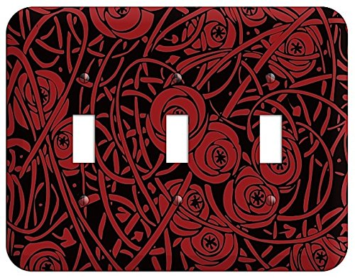 (Red Deco Floral Triple Toggle Switchplate)