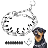 """Dog Prong Collar, Classic Stainless Steel Choke Pinch Dog Chain Collar with Comfort Tips, 5 (XXL-25.7"""", Silver)"""
