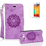 For Samsung Galaxy G530 Case [with Free Screen Protector], Funyye Classic Premium Folio PU Leather Wallet Magnetic Flip Cover and [Credit Card Holder Slots] Mandala Flower Patterns Design Protective Case Cover for Samsung Galaxy G530 -Purple