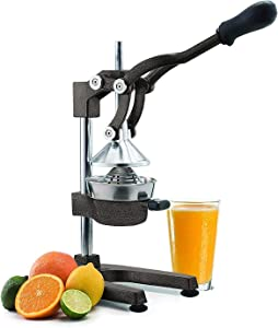 Manual Fruit Juicer - Commercial Grade Home Citrus Lever Squeezer for Oranges, Lemons, Limes, Grapefruits and More - Stainless Steel and Cast Iron - Non-skid Suction Cup Base - 15 Inch - Black - by Vollum