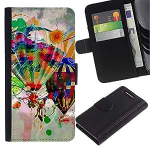 Be Good Phone Accessory // Caso del tirón Billetera de Cuero Titular de la tarjeta Carcasa Funda de Protección para Sony Xperia Z1 Compact D5503 // Design Hot Air Balloons