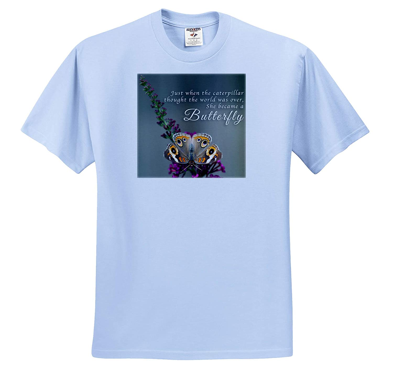 - T-Shirts 3dRose Stamp City Insects Photo of a Common Buckeye on a Purple Butterfly Bush with Saying