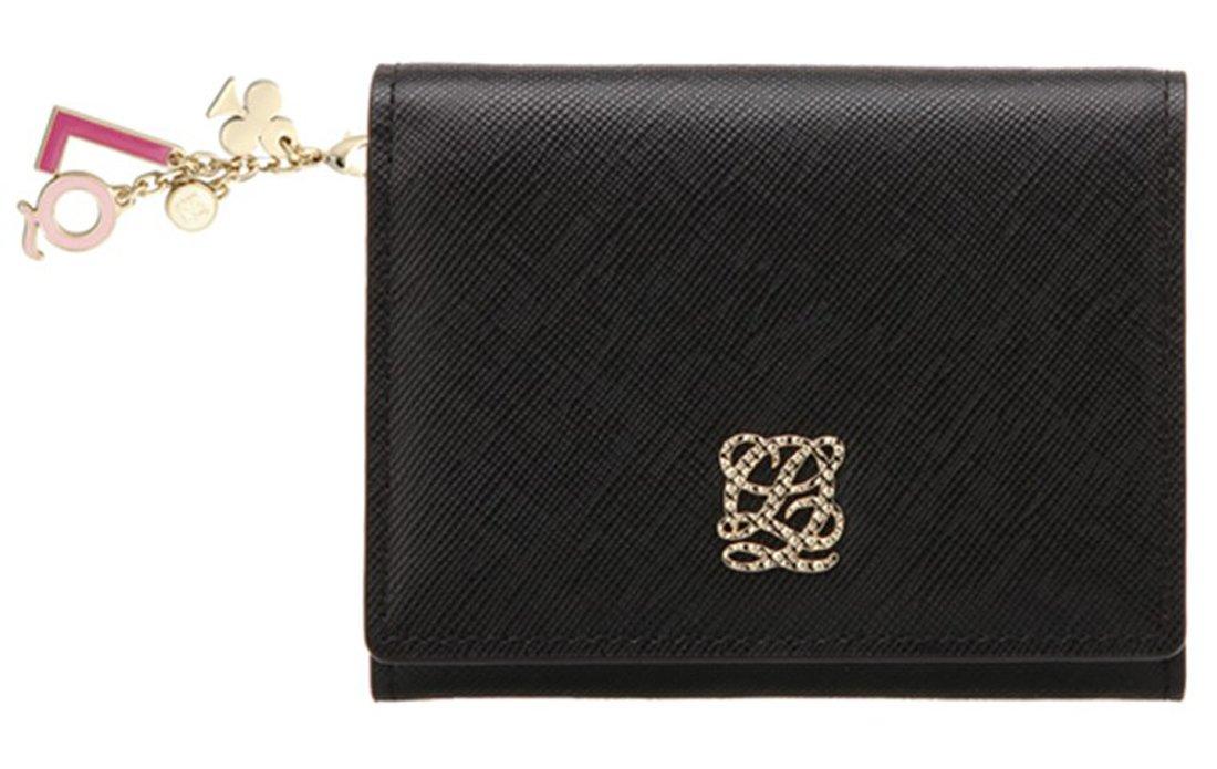 LOUIS QUATORZE Women's Cow Leather Business Card Case SI4AL09BL One Size Black