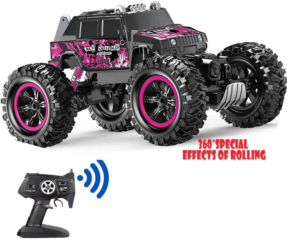 Amazon Com Remote Control Car Pink 360 Stunt Tumbling Waterproof Monster Truck Boy And Girl Adult Children Can Control The Toy Toys Games