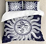 Sun and Moon King Size Duvet Cover Set by Ambesonne, Love and Romance in Sky Eclipse at Midnight Themed Folk Elements Vintage, Decorative 3 Piece Bedding Set with 2 Pillow Shams, Dark Blue White