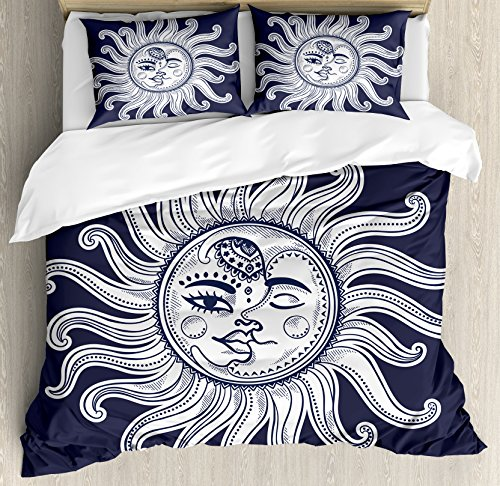 ze Duvet Cover Set by Ambesonne, Love and Romance in Sky Eclipse at Midnight Themed Folk Elements Vintage, Decorative 3 Piece Bedding Set with 2 Pillow Shams, Dark Blue White ()