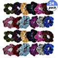Fu Store 24 Pcs Scrunchies Hair Ties Elastic Bands Hair Scrunchies Velvet Hair Ropes Ties Best Birthday Christmas Gift For Women Girls