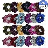 Fu Store 24 pcs Scrunchies Hair Ties Elastic Bands Hair Scrunchies Velvet Hair Ropes Ties for Women & Girls