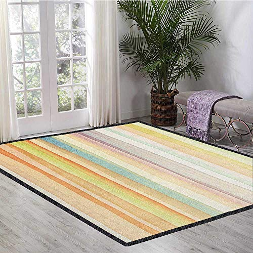 Pastel Indoor/Outdoor Area Rug,Horizontal Watercolors Stripes Acrylic Artistic Elements Liquid Brushstrokes Print for Living Room Nursery Multicolor 47