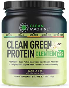 Clean Green Protein with Lentein - Whole Food Vegan Plant Based Protein Powder - Only Plant Sourced B12 Protein Powder - Vanilla Chai - 1.75lbs - Gluten Free