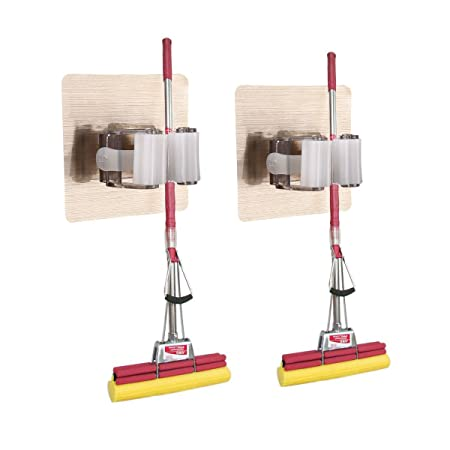 Mop Holder, [2 Pack] Wall Mounted Self Adhesive Mop Broom Holders Rack  Storage