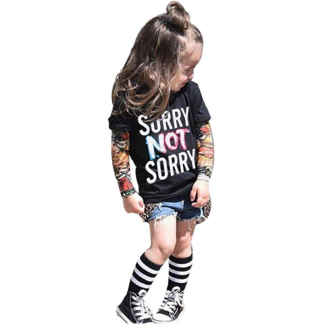 Kolylong® Tops Infant 1PC Kids Lange Ärmel Mode Tattoo Drucken Sleeve T-Shirt Tops KG1086