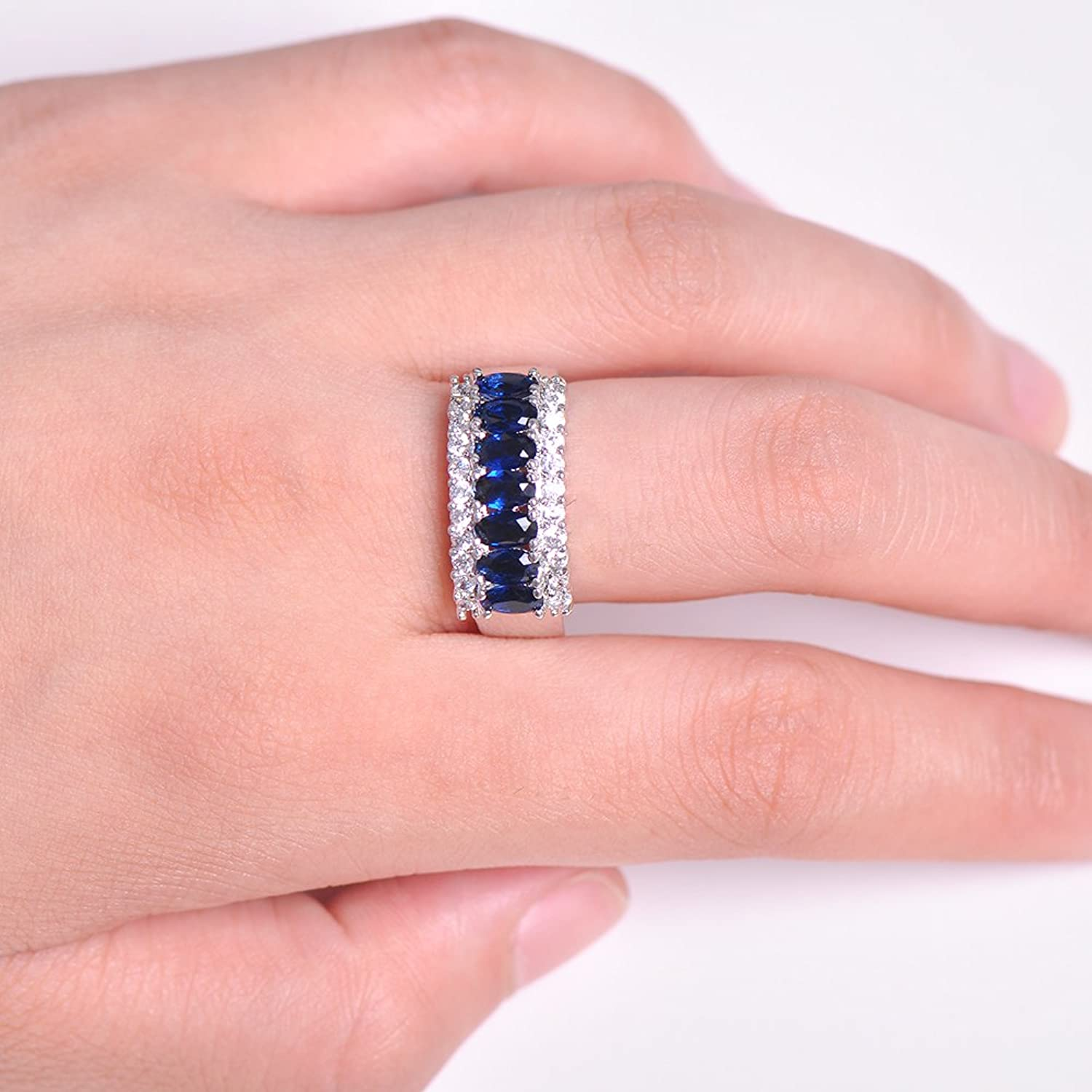 Amazon.com: Rings Jewelry 925 Sterling Silver Women Ring Full CZ ...