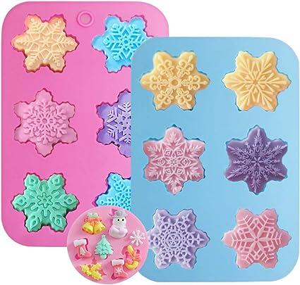 Trio de mini Flocons de Neige Moule en silicone de sugarcraft ou chocolat