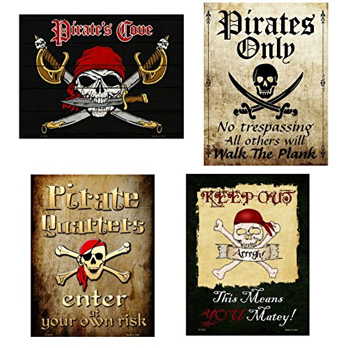 (Smart Blonde Signs Bundle Metal Pirate Wall Decor, Pirate Sign Set - Pirates Cove, Pirates Only, Pirate Quarters and Keep Out Matey. Great Pirate Gift for Kids.)