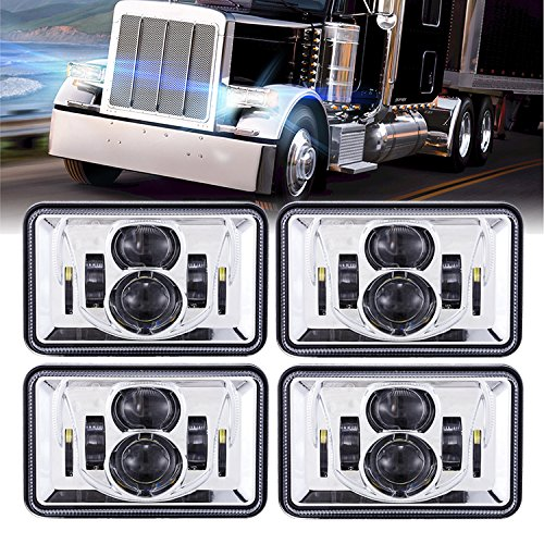 - BICYACO (4 PCS) DOT Approved 60W 4x6 Inch LED Headlights Rectangular Replacement H4651 H4652 H4656 H4666 H6545 for Peterbil Kenworth Freightinger Ford Probe Chevrolet Oldsmobile Cutlass -Chrome