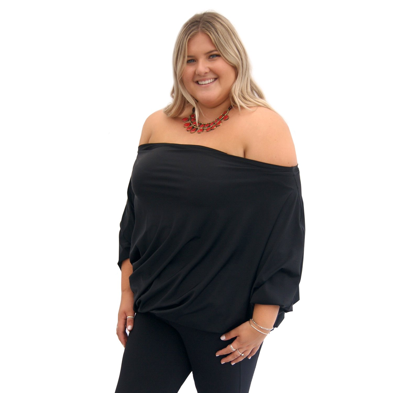SWOPS Plus Size Multiway Little Travel Dress - Night Black.