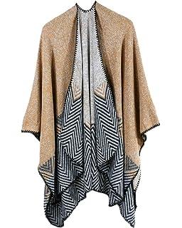 2d538719a2c4 AnyuA Echarpe Femme Foulard Châle Frange Vintage Cape Manteau Bleu ...