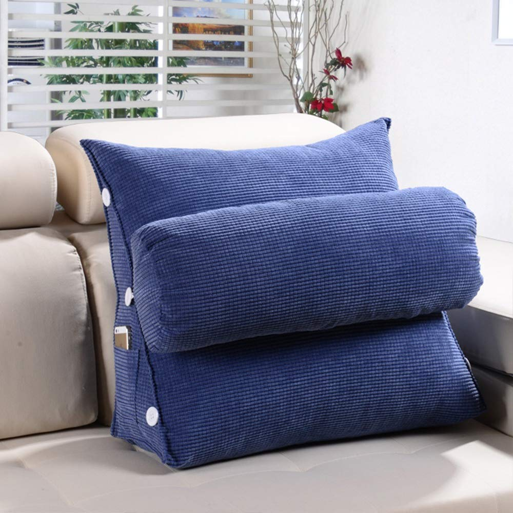 Lumbar Pillow Cailin, Triangle Cushion, Sofa Pillow, Bed Cushion, Office Lumbar Support, Neck Pillow - Comfortable (Color : Navy, Size : 452045cm)
