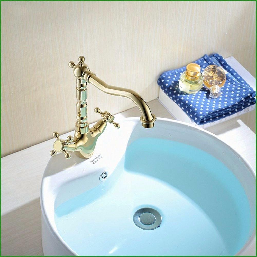 Amazon.com: Bathroom Sink Faucet Retro Copper Plated Rose Gold Bath ...