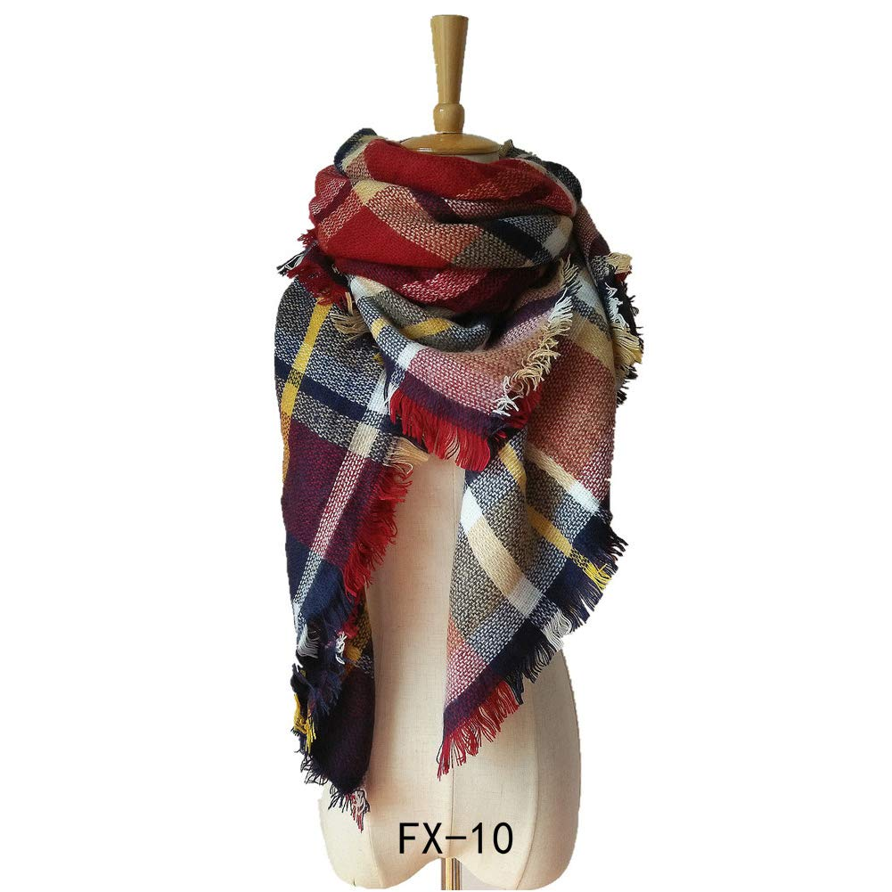 Plaid Blanket Thick Winter Scarf Tartan Chunky Wrap Oversized Shawl Cape 55x55 (Red Plaid) Cotowin