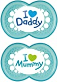 MAM Style I Love Mummy  and  Daddy Soothers with Sterilisable Travel Case (6 Months and Above, Blue)