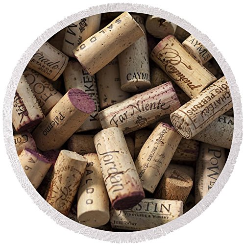 Pixels Round Beach Towel With Tassels featuring ''Collection Of Fine Wine Corks'' by Adam Romanowicz by Pixels