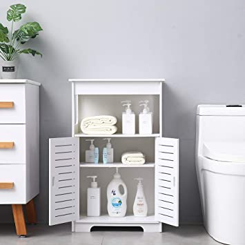 Amazon Com Binrrio Bathroom Storage Floor Cabinet Free Standing With Double Door Double Compartment Multifunctional Bathroom Organizer Bathroom Storage Shelves In Bathroom Living Room White Furniture Decor
