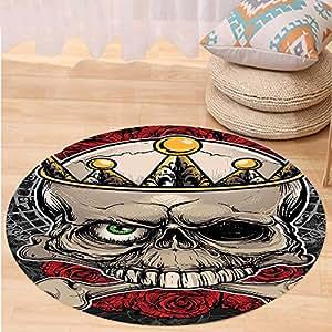 Kisscase Custom carpetGothic Decor Skull with Crown Roses Bones Dead King Halloween Illustration for Bedroom Living Room Dorm Tan Marigold Dark Grey red