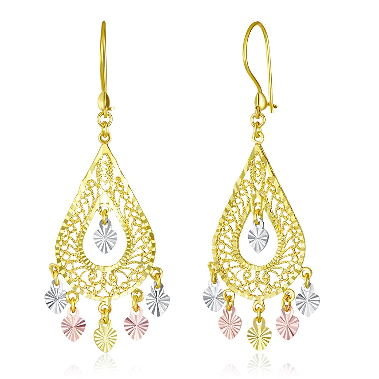 Wellingsale Ladies 14k Tri 3 Color Gold Diamond Cut Polished Fancy Chandelier Dangle Hanging Drop Earrings (17 X 41mm)