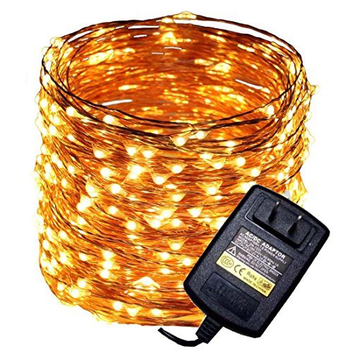 165ft 500 LED Warm White Waterproof Copper Wire String Fairy Light Lamp Decoration Lighting with 12V AC Adapter for Christmas Party Wedding(50m)
