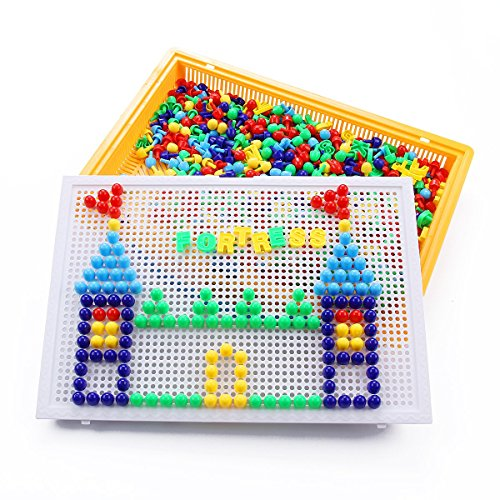Vidatoy Special Edition 324 Pcs Pegboard Mushroom Nails Jigsaw Peg Puzzle Game With Numbers and Letters Nails (Random (Fine Motor)