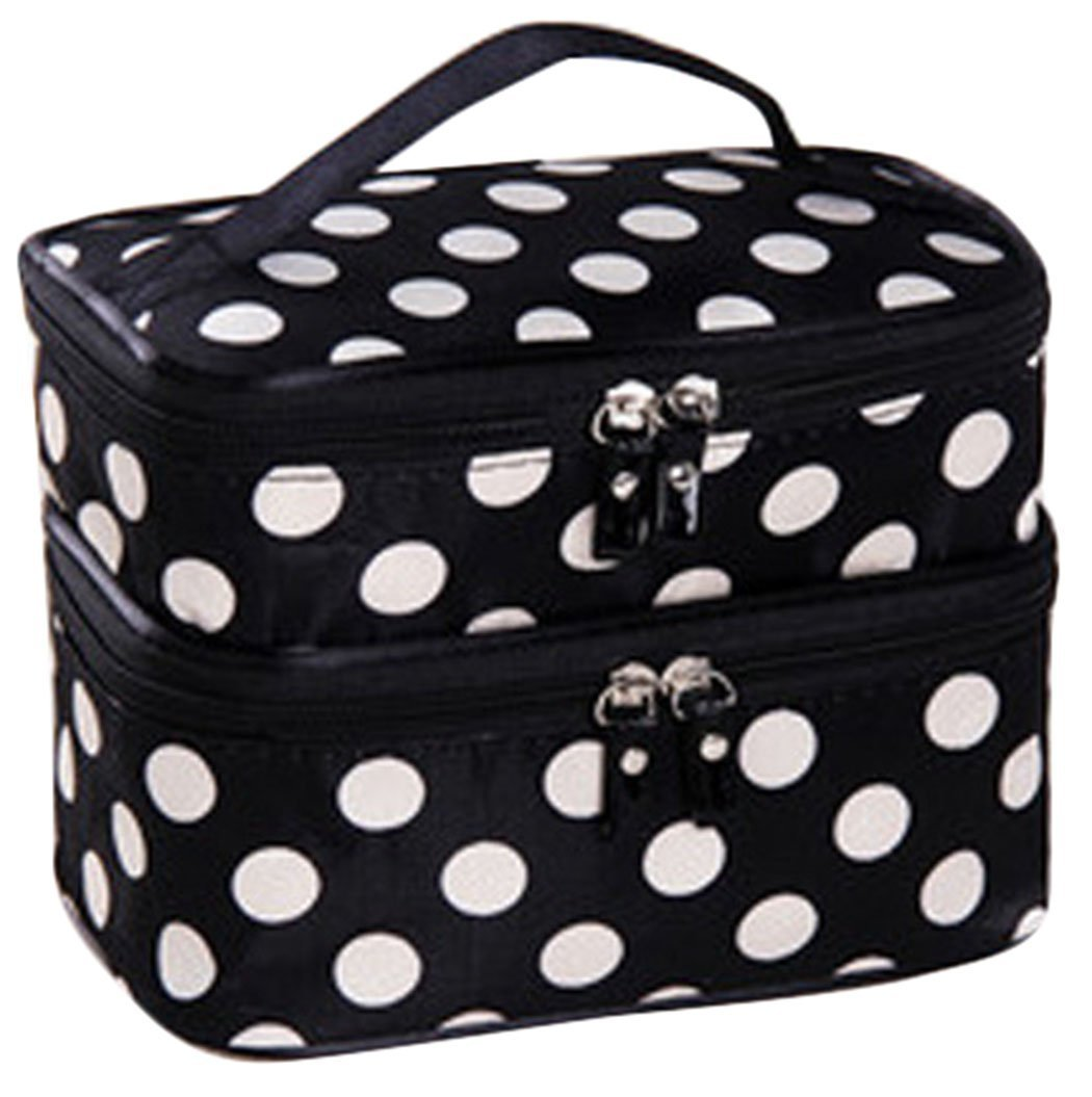 1c8b1a9d924a Amazon.com   JOVANA Double Layer Cosmetic Bag Black with White Dot Travel Toiletry  Cosmetic Makeup Bag Organizer With Mirror   Beauty