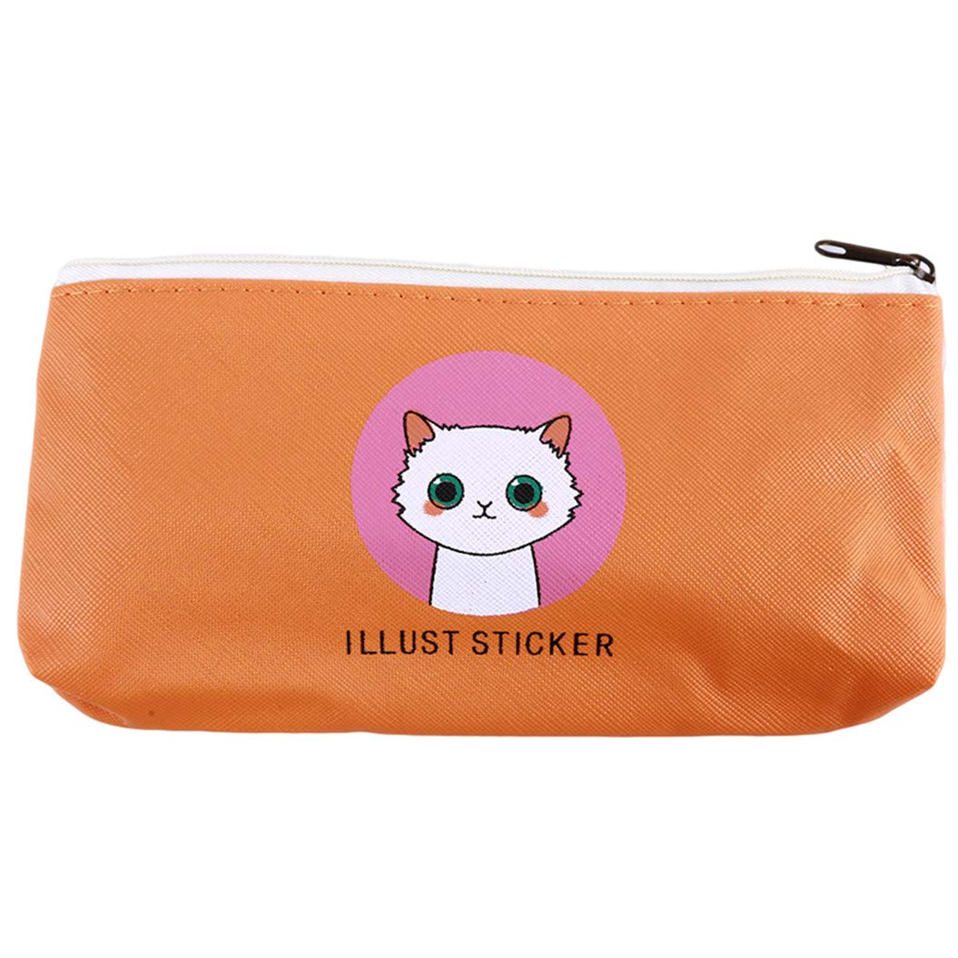 LZIYAN Cute Pencil Case Cartoon Cat Large Capacity Stationery Bag Pouch Case With Zipper Creative Pen Storage Bag Student Supplies,Orange