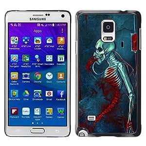 MobileHut / Samsung Galaxy Note 4 SM-N910F SM-N910K SM-N910C SM-N910W8 SM-N910U SM-N910 / Blood Metal Music Death Skeleton / Delgado Negro Plástico caso cubierta Shell Armor Funda Case Cover