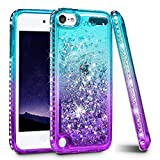 Image of iPod Touch 5/6 Case, iPod Touch Case 5th/6th Generation for Girls Women, Ruky Quicksand Series Glitter Flowing Liquid Floating Bling Diamond Flexible TPU Cute Case for iPod Touch5/6 - Teal/Purple